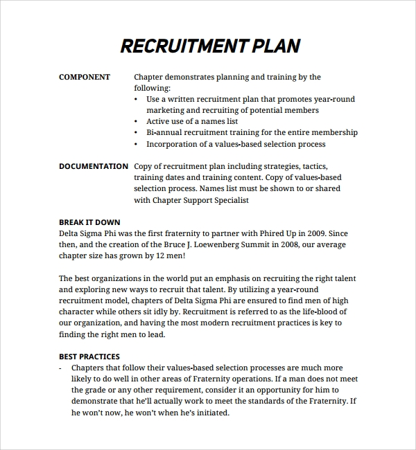 sample recruiting plan template 9 free documents in pdf word. Black Bedroom Furniture Sets. Home Design Ideas