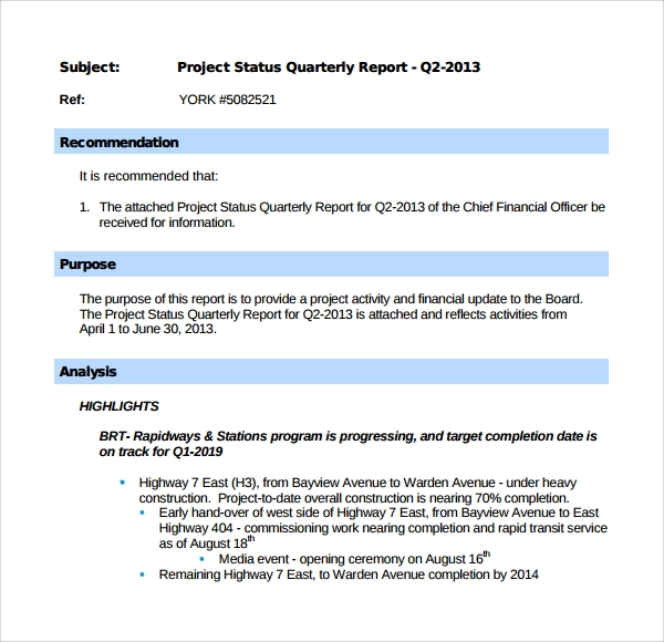 Sample Project Quarterly Report Template   Free Documents In Pdf
