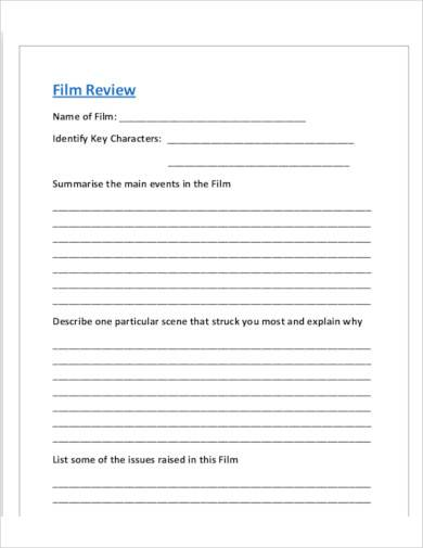 basic film review template