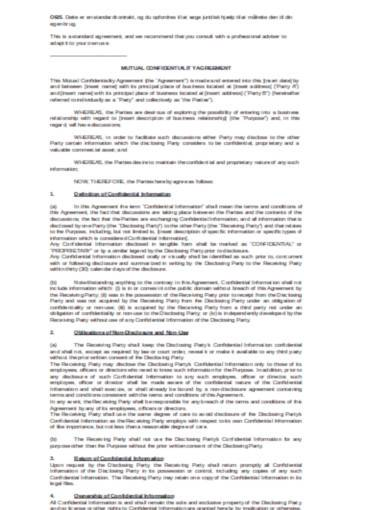 basic mutual confidentiality agreement3