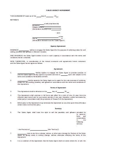 basic sales agency agreement