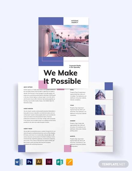 beach vacation rental bi fold brochure template