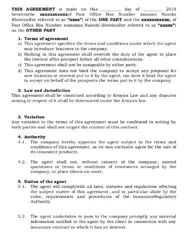 business agency agreement