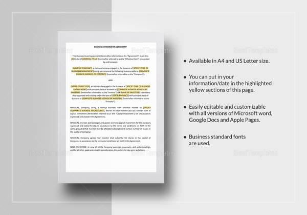 Business Investment Agreements | Business Investment Agreement Template