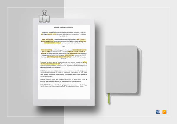 business investment agreement template1