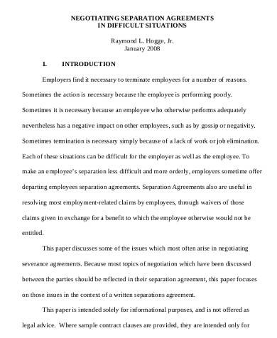 business separation agreement