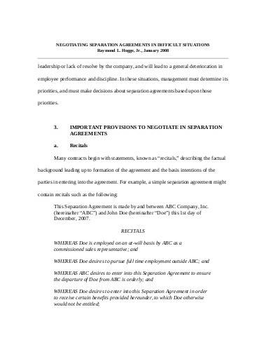 business separation agreement1