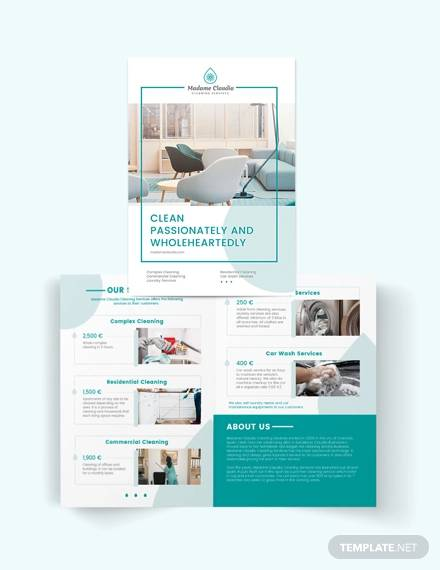 cleaning service company bi fold brochure template
