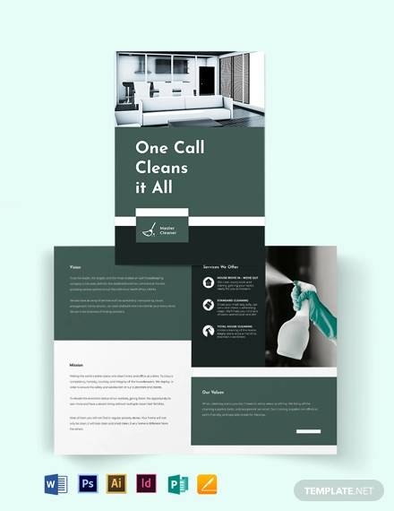 cleaning services company bi fold brochure template