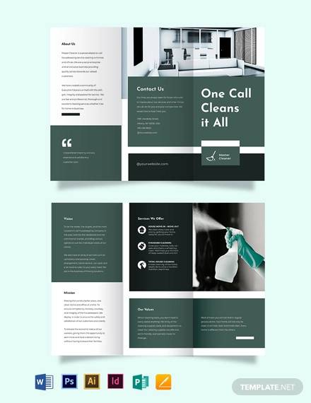cleaning services company tri fold brochure template