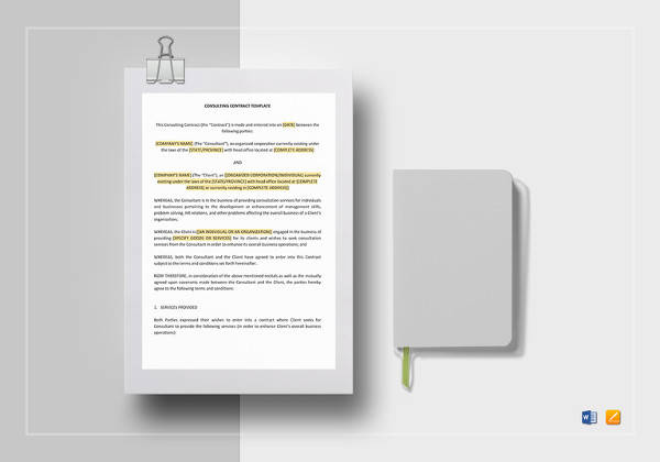 consulting contract template to print