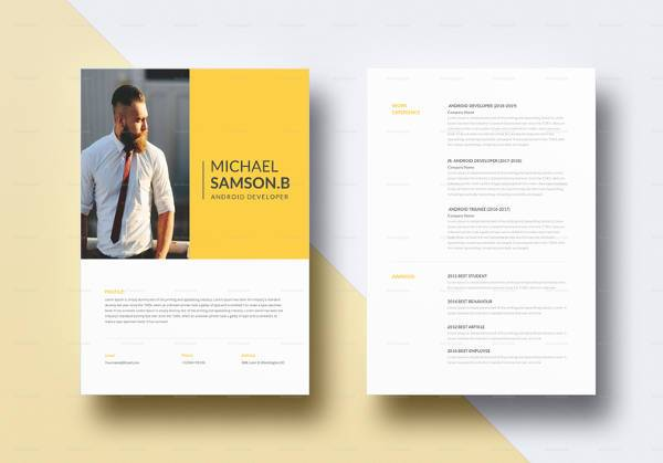 creative android developer resume template in word