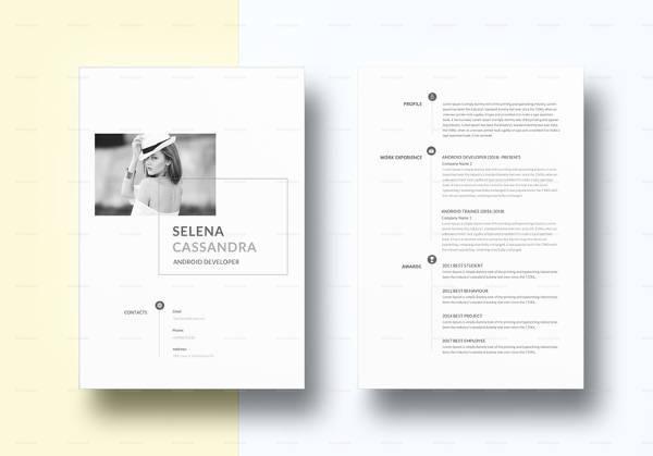editable minimalist android developer resume template