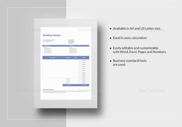 Sample Roofing Invoice Template Free Documents Download In PDF - Roofing invoice template free