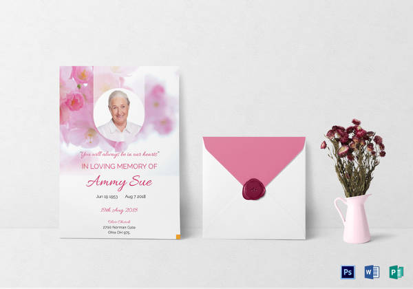 elegant funeral program invitation template