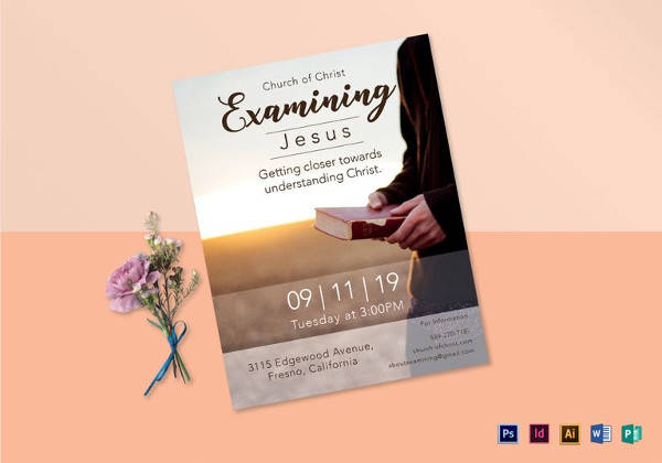examining jesus flyer template in word