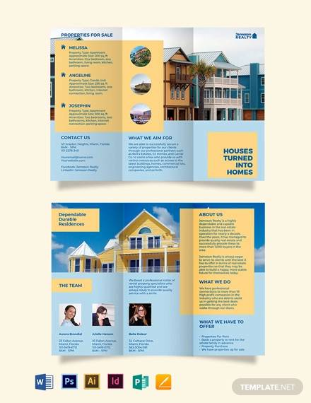 family vacation rental tri fold brochure template