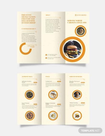 fast food tri fold brochure template