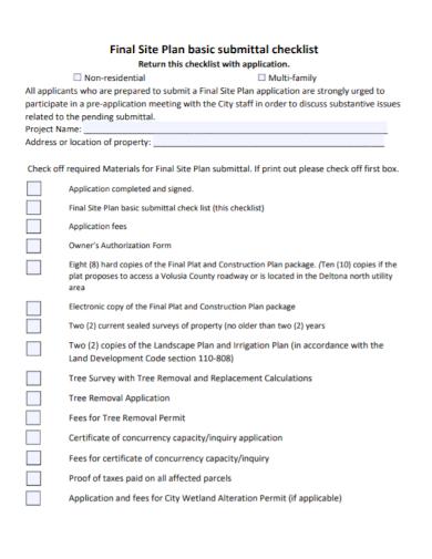final site plan checklist