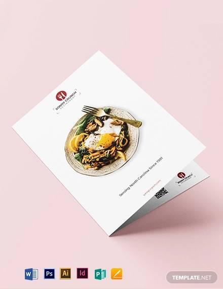 food and drink bi fold brochure template