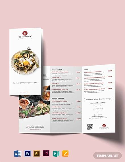 food and drink tri fold brochure template