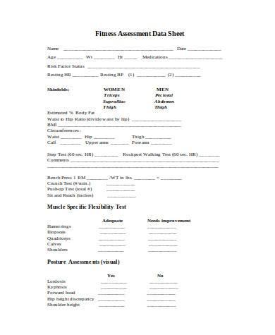 general fitness assessment form