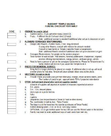 general funeral checklist