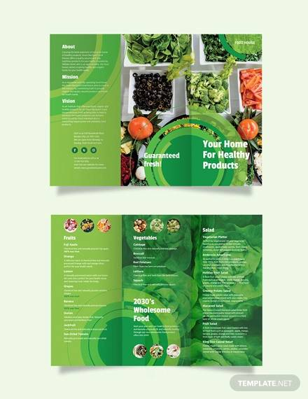 healthy food tri fold brochure template