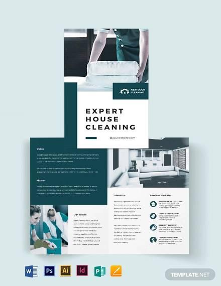 house cleaning bi fold brochure template