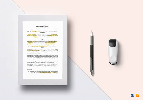 investment contract word template