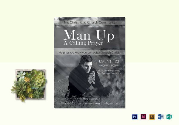 man up church flyer template in word format