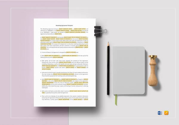 marketing agreement template in word