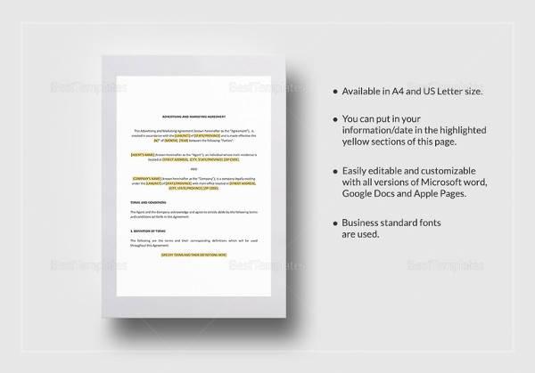 marketing agreement word template