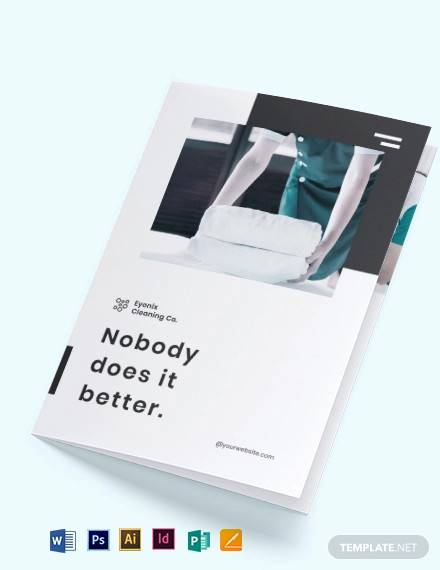 modern cleaning company bi fold brochure template