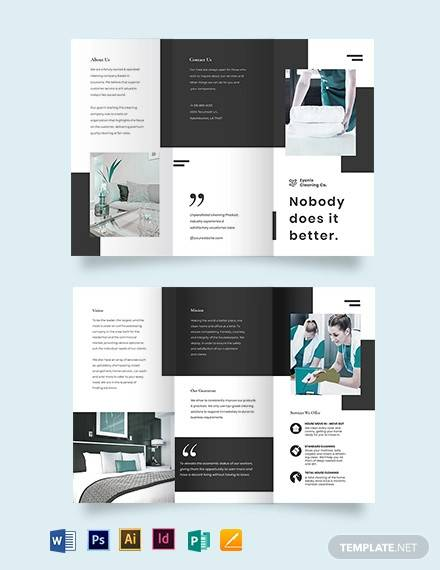 modern cleaning company tri fold brochure template
