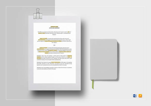 office lease agreement template in ipages