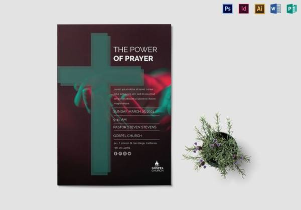 power of prayer church flyer template