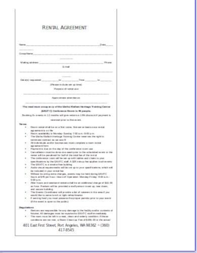 printable business rental agreement