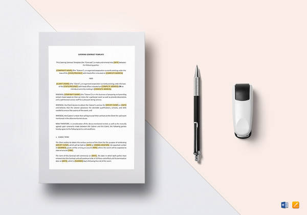 printable catering contract word template