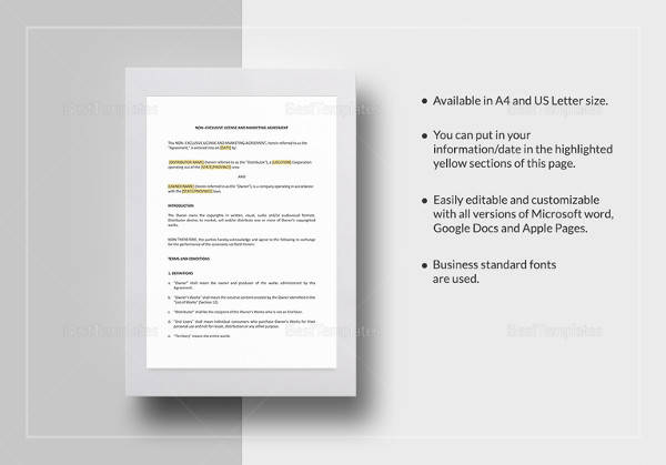 printable non exclusive marketing agreement template