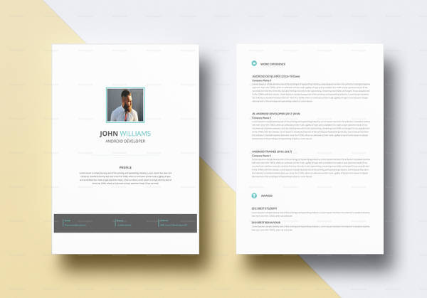 professional android developer resume template in psd