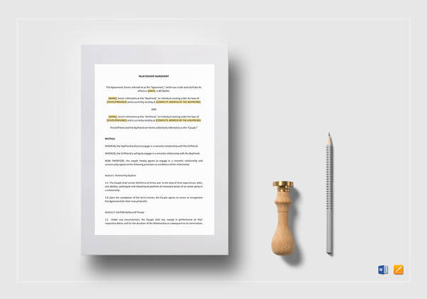 relationship agreement word template