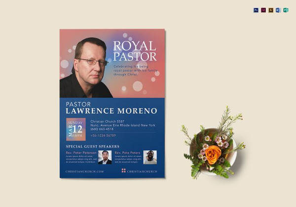 royal pastor flyer template in psd