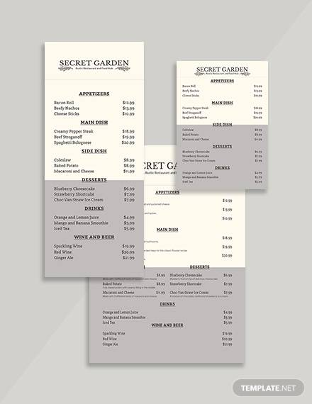 rustic restaurant menu template