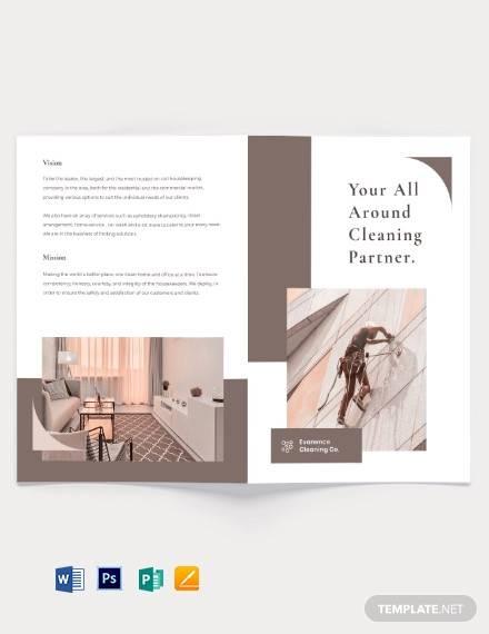 sample cleaning bi fold brochure template