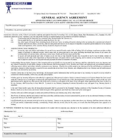 sample general agency agreement