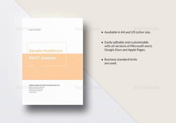 sample healthcare swot analysis template