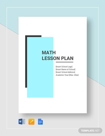 sample math lesson plan template