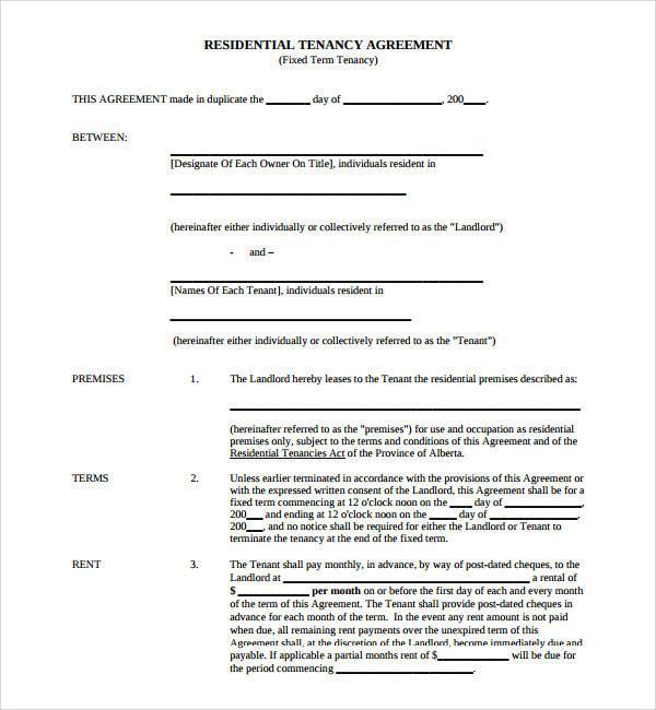 sample tenancy agreement template