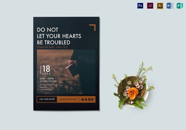 share the faith flyer template in indesign